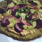 Beet, Hummus and Avocado Green Socca Pizza